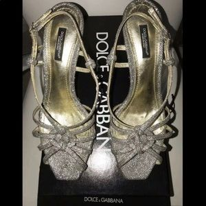 Dolce & Gabbana Silver Leather Heels Size 37.5 7.5